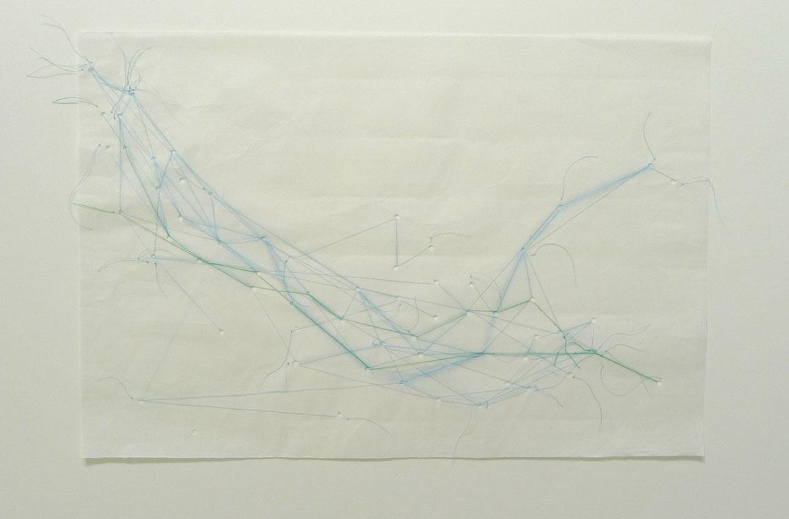 collage met blauwe draadjes
